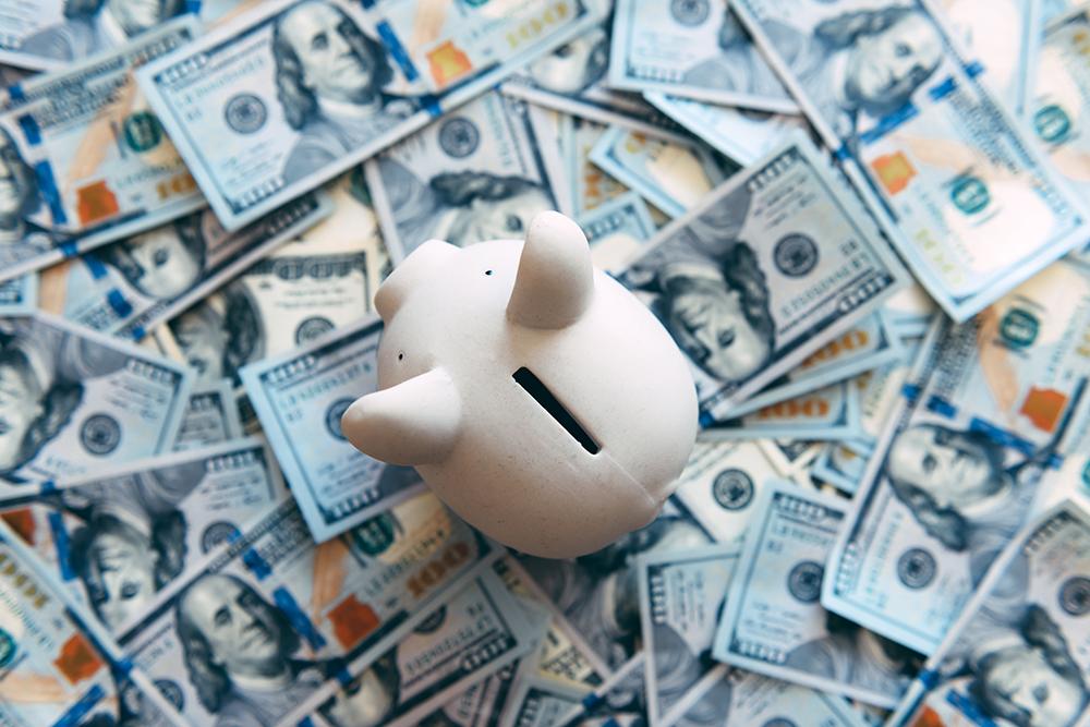 現金が敷かれているうえに豚の貯金箱がある